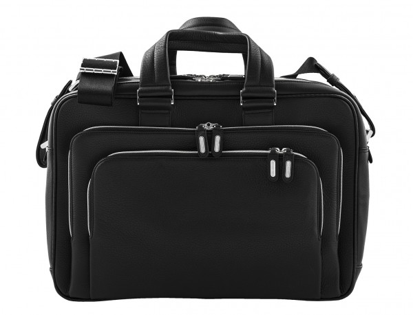 leather black briefcase for men in black front
