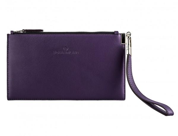 bolso de noche para mujer en cuero lila frontal