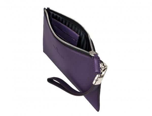 bolso de noche para mujer en cuero lila abierto