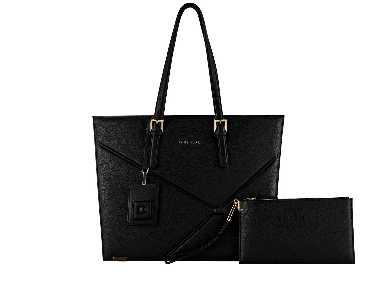 borsa per laptop in pelle da donna in nero front