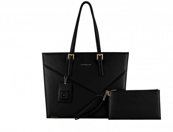 leather women laptop bag in black front