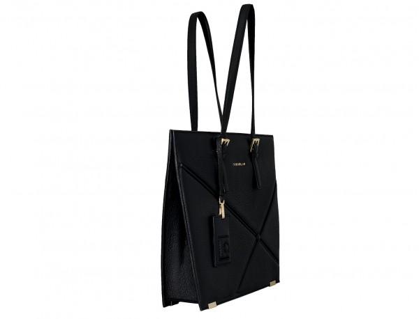 bolso de piel para portátil de mujer en negro lado
