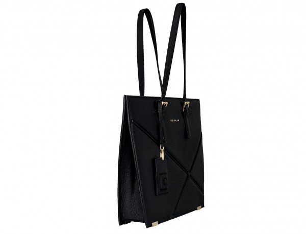 borsa per laptop in pelle da donna in nero side