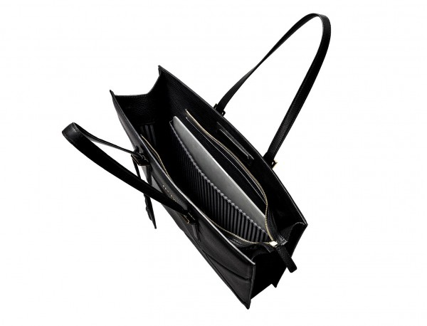 borsa per laptop in pelle da donna in nero open