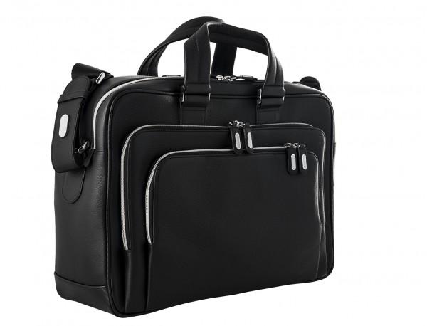 maletin de cuero negro grande de hombre lateral