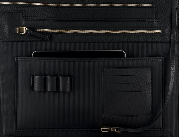 bolso de piel para portátil de mujer en negro detalle