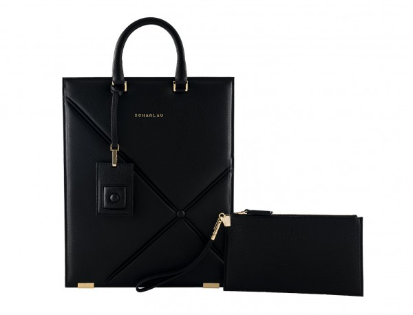 borsa per laptop da donna in pelle nera front