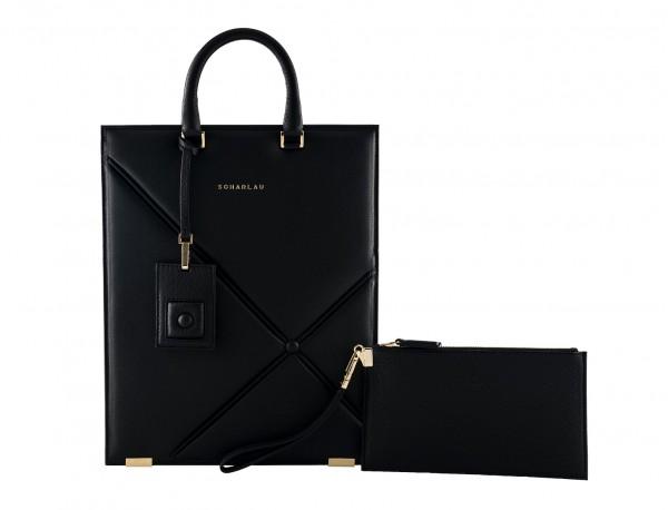 black leather laptop bag for women front
