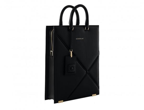 borsa per laptop da donna in pelle nera side