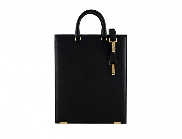 bolso de piel para portátil de mujer negro detrás