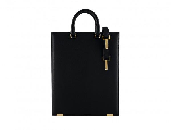 black leather laptop bag for women back
