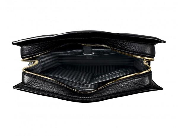 bolso de piel para portátil de mujer negro interior