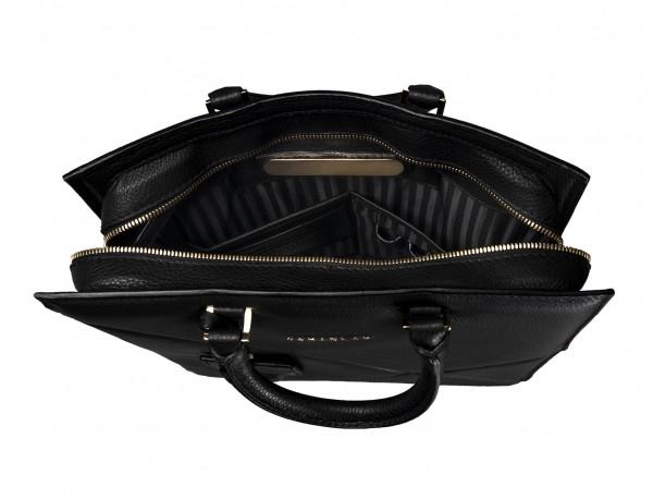 bolso de piel para portátil de mujer negro placa