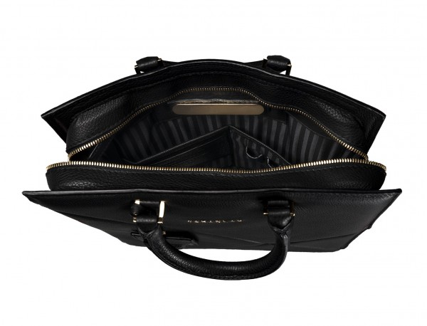 borsa per laptop da donna in pelle nera open