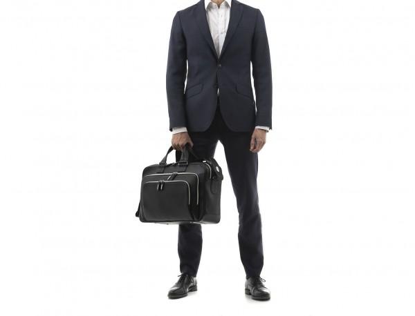 leather black briefcase for men in black model