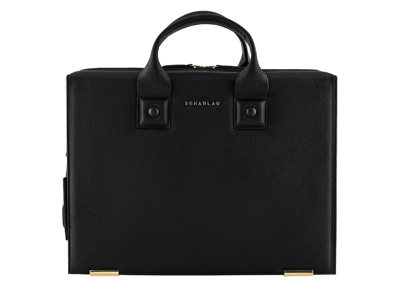 leather briefbag black front