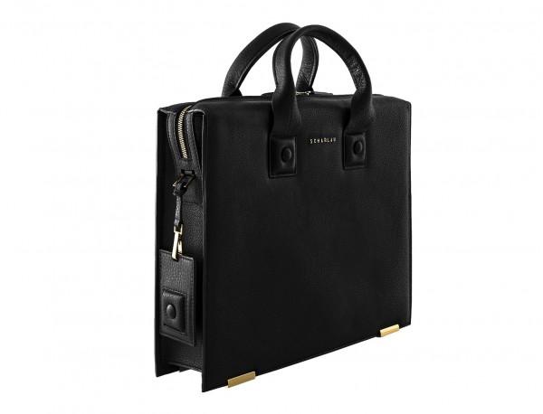 borsa da lavoro in pelle nera side