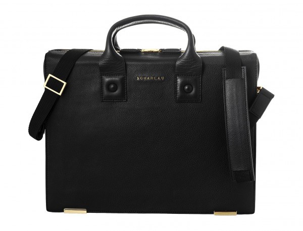 borsa da lavoro in pelle nera front detail
