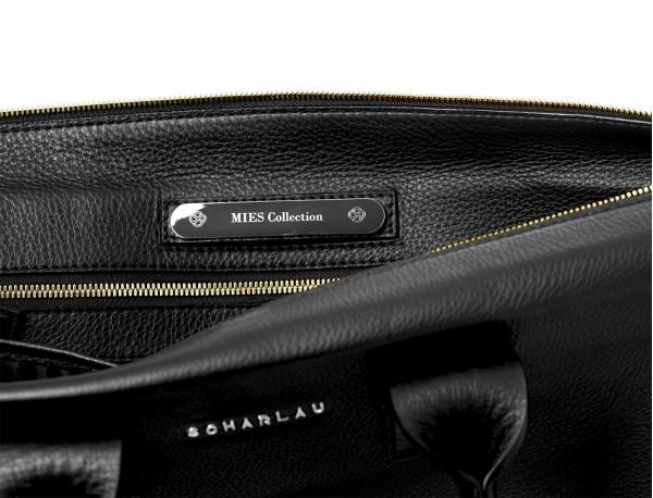 borsa da lavoro in pelle nera plate