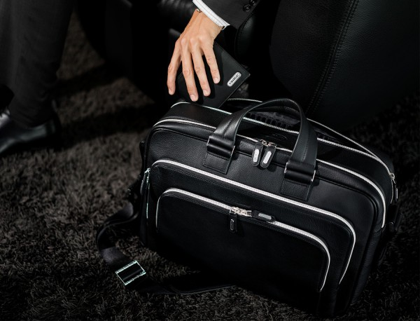 leather black briefcase for men in black lifestyle