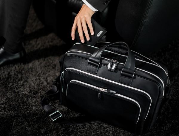 maletin de cuero negro grande de hombre lifestyle