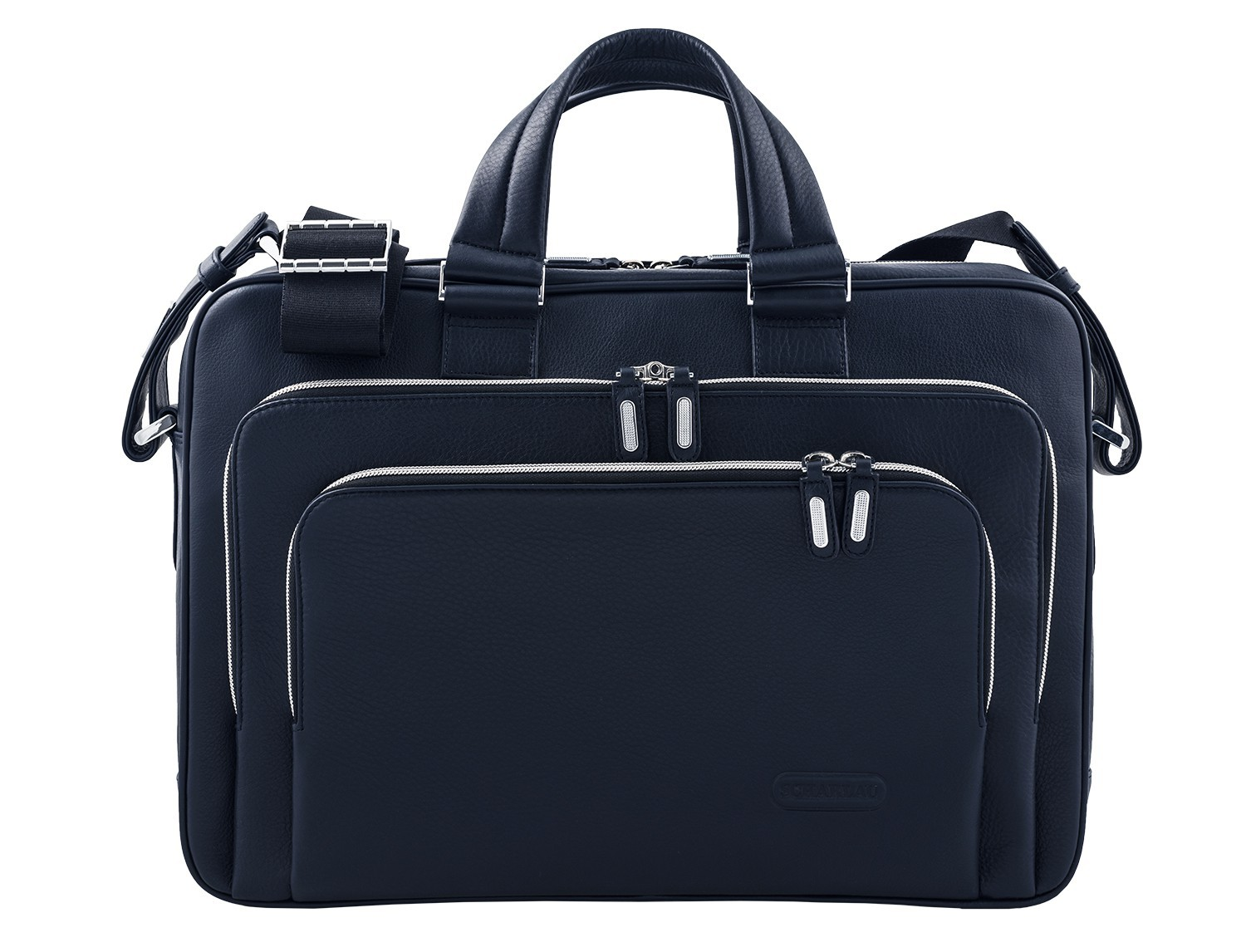 leather business bag in blue front