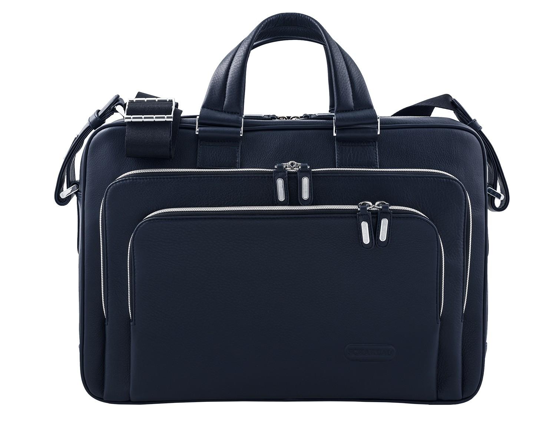 maletín ejecutivo de cuero en color todo negro azul frontal