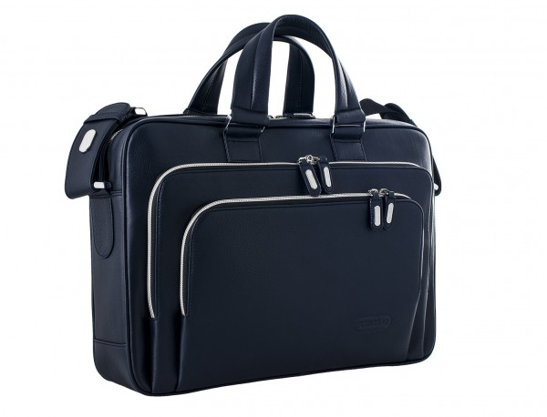 maletín ejecutivo de cuero en color todo negro azul lateral