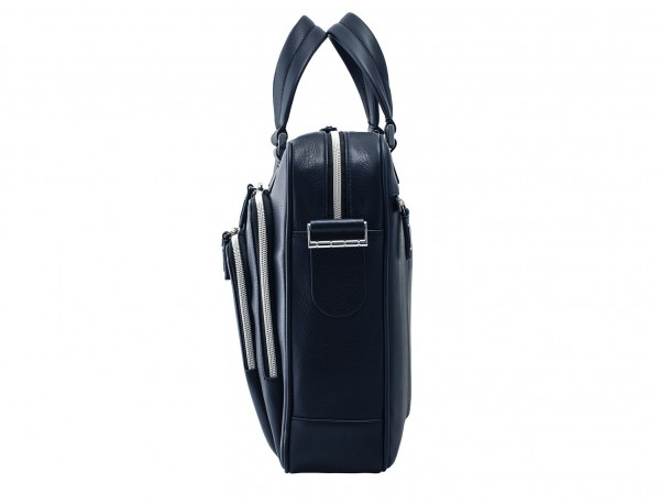 leather business bag in blue side detail
