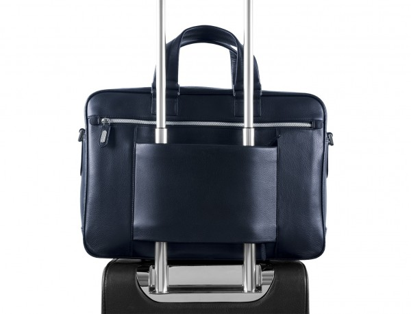 leather business bag in blue trolley