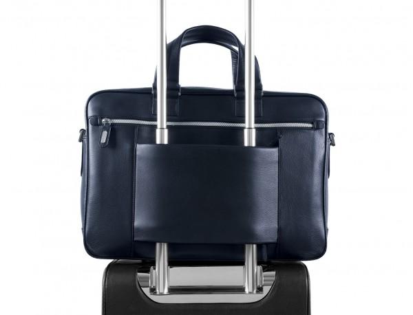 maletín ejecutivo de cuero en color todo negro azul espalda