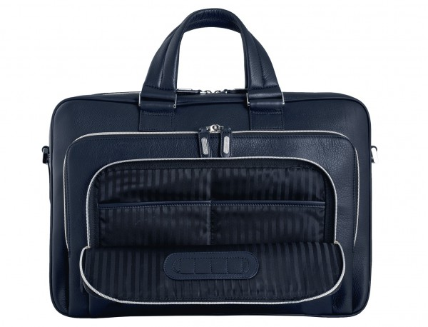 leather business bag in blue pockets detail