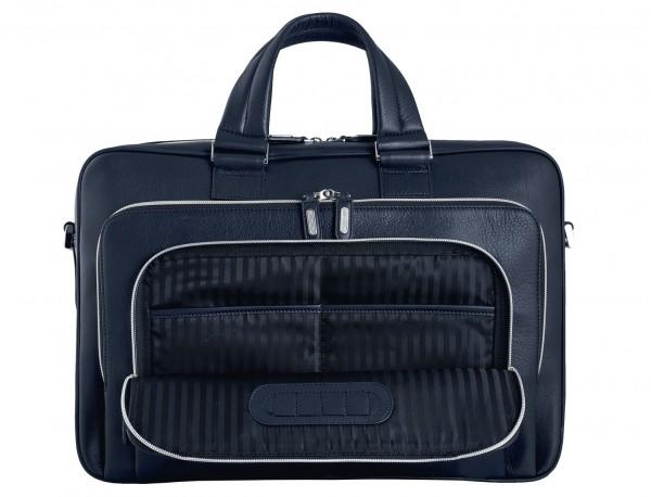 maletín ejecutivo de cuero en color todo negro azul interior