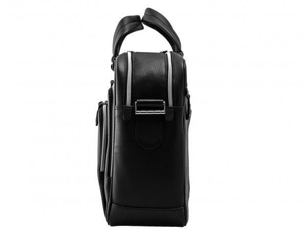 leather black briefcase for men in black side