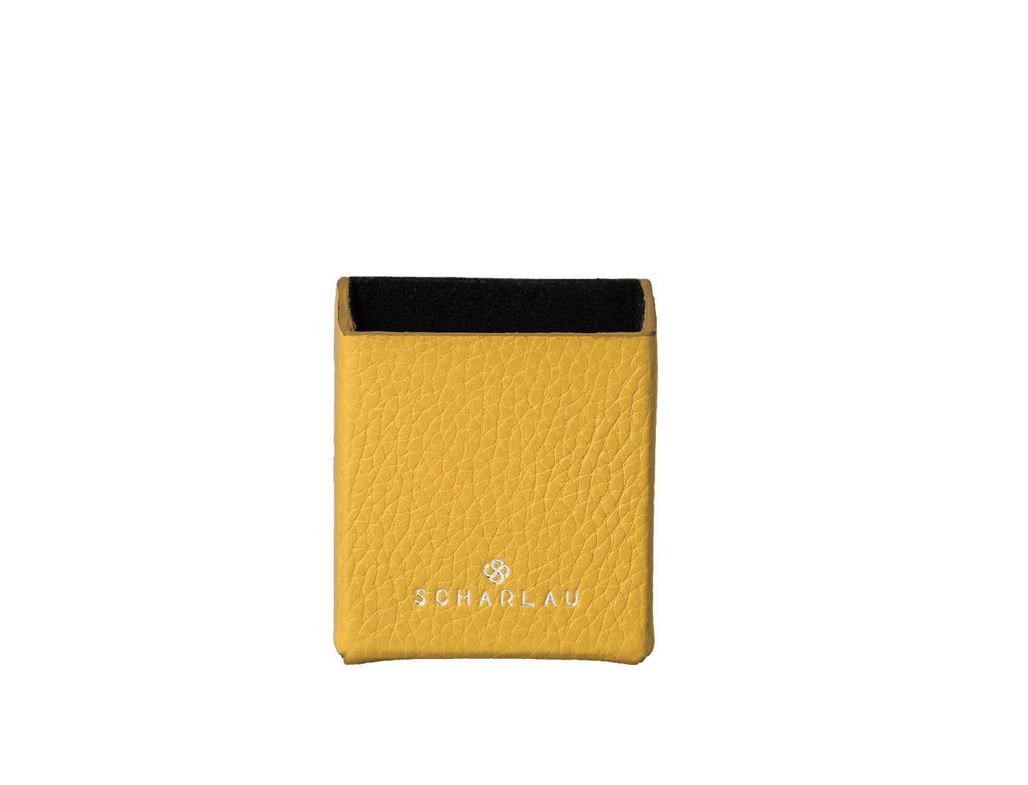 yellow leather cigarette case front