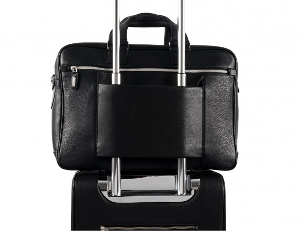 leather black briefcase for men in black trolley