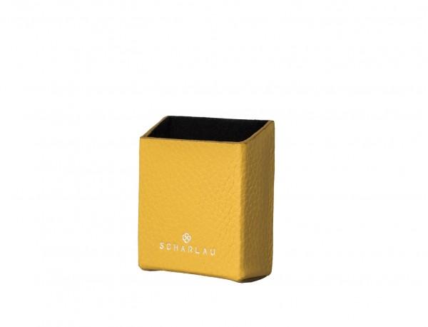 portasigarette in pelle giallo side