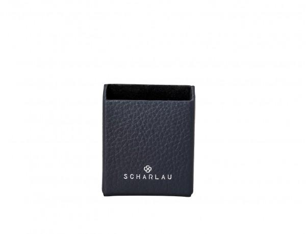 blue leather cigarette case front