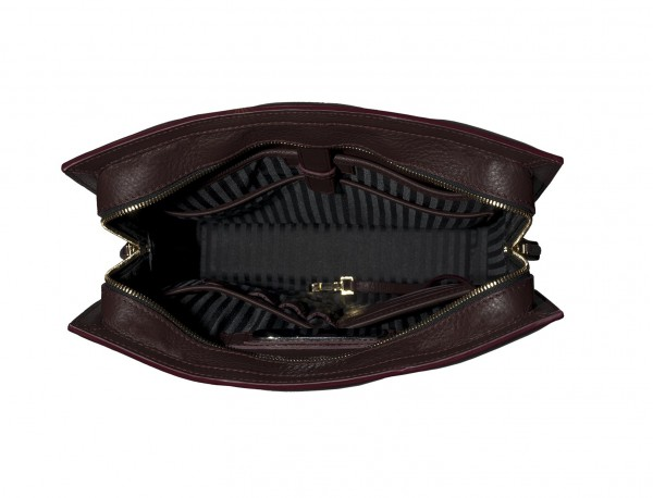 bolso de piel para portátil de mujer burdeos interior