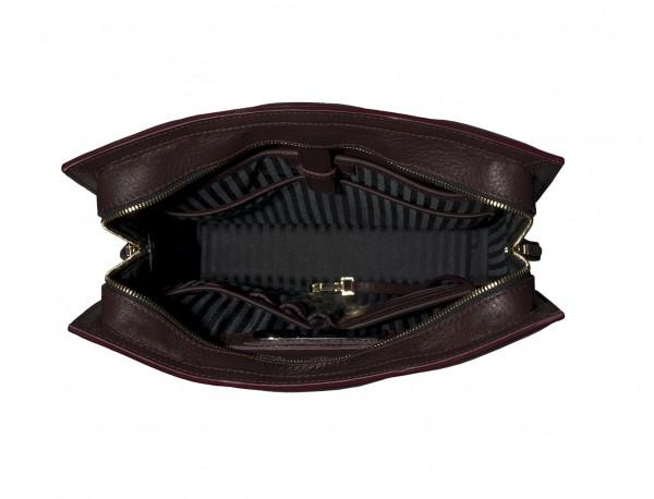 borsa per laptop da donna in pelle bordeaux inside