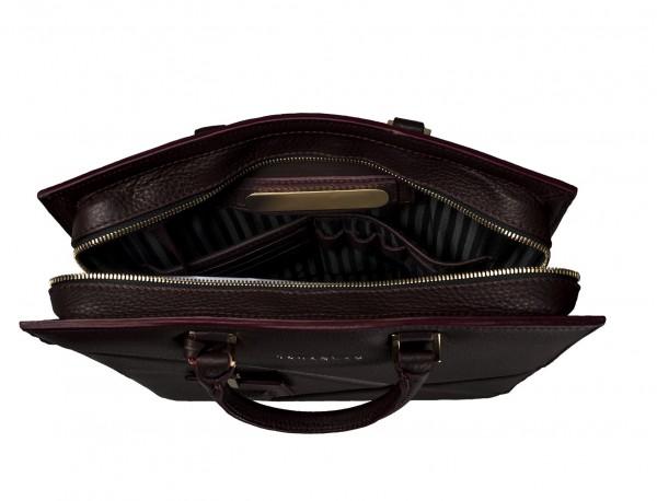 bolso de piel para portátil de mujer burdeos placa