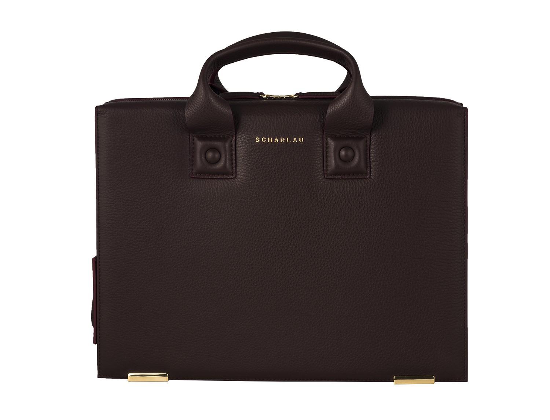 leather briefbag burgundy front