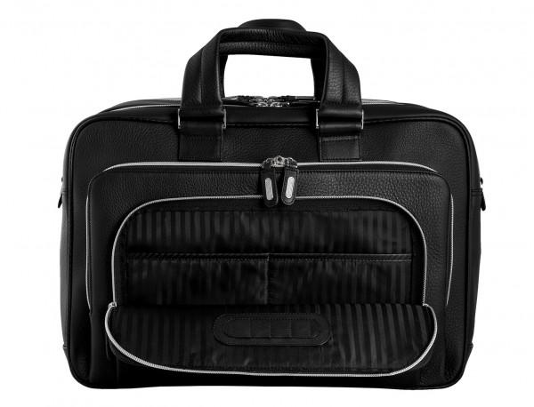 leather black briefcase for men in black inside