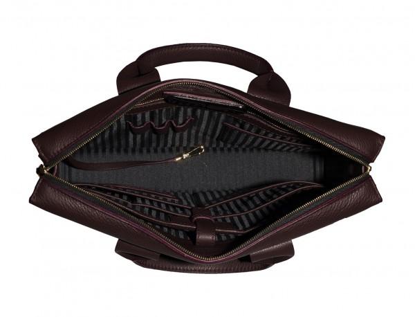 leather briefbag burgundy inside