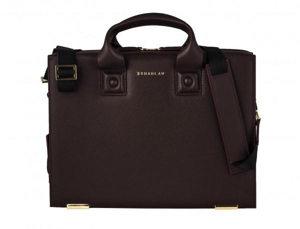leather briefbag burgundy detail