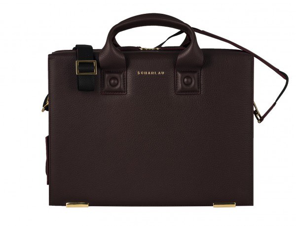 leather briefbag burgundy detail front