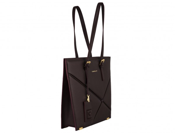 leather women laptop bag in burgundy side