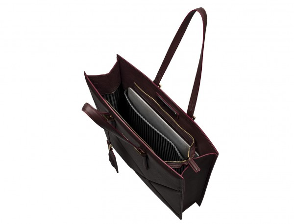 leather women laptop bag in burgundy inside