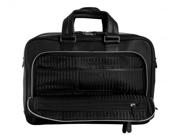 leather black briefcase for men in black inside pocket