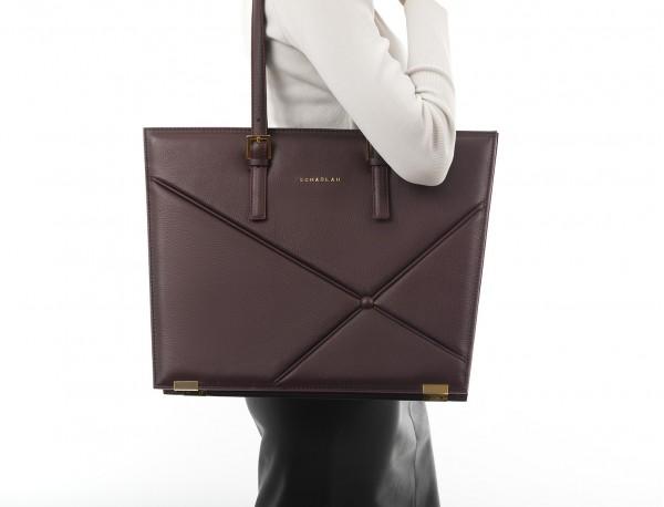 leather women laptop bag in burgundy model
